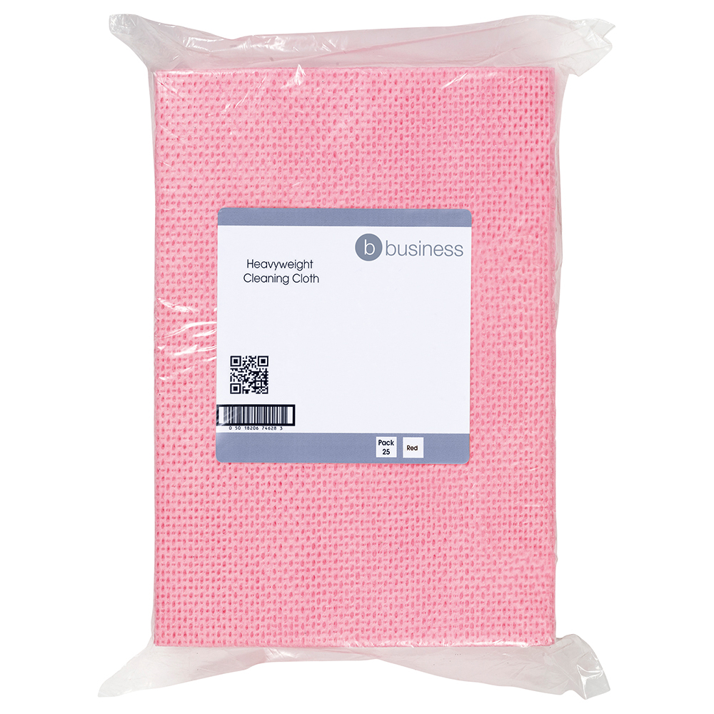 Business Cleaning Cloths Anti-microbial Heavy-duty 76gsm W500xL300mm Red [Pack 25]