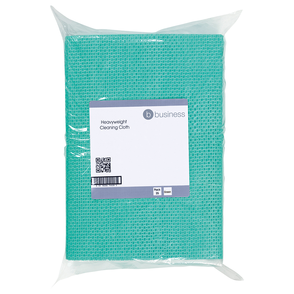 Business Cleaning Cloths Anti-microbial Heavy-duty 76gsm W500xL300mm Green [Pack 25]