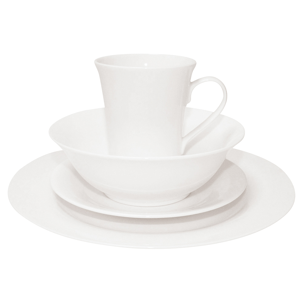 Business Dinner Set Fine Bone China 16 Piece White