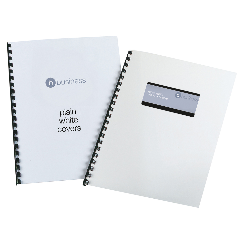 Business Binding Covers 250gsm Plain A4 Gloss White [Pack 100]