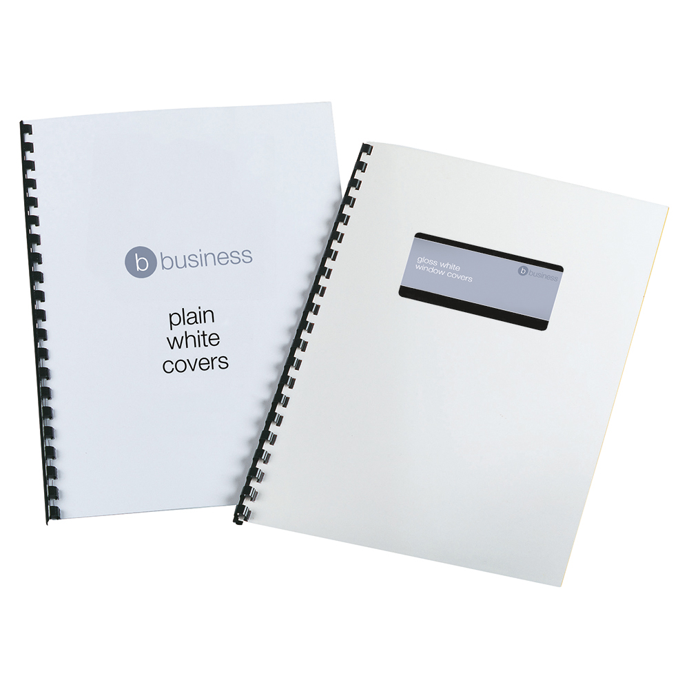 Business Binding Covers 250gsm Window A4 Gloss White [Pack 100]