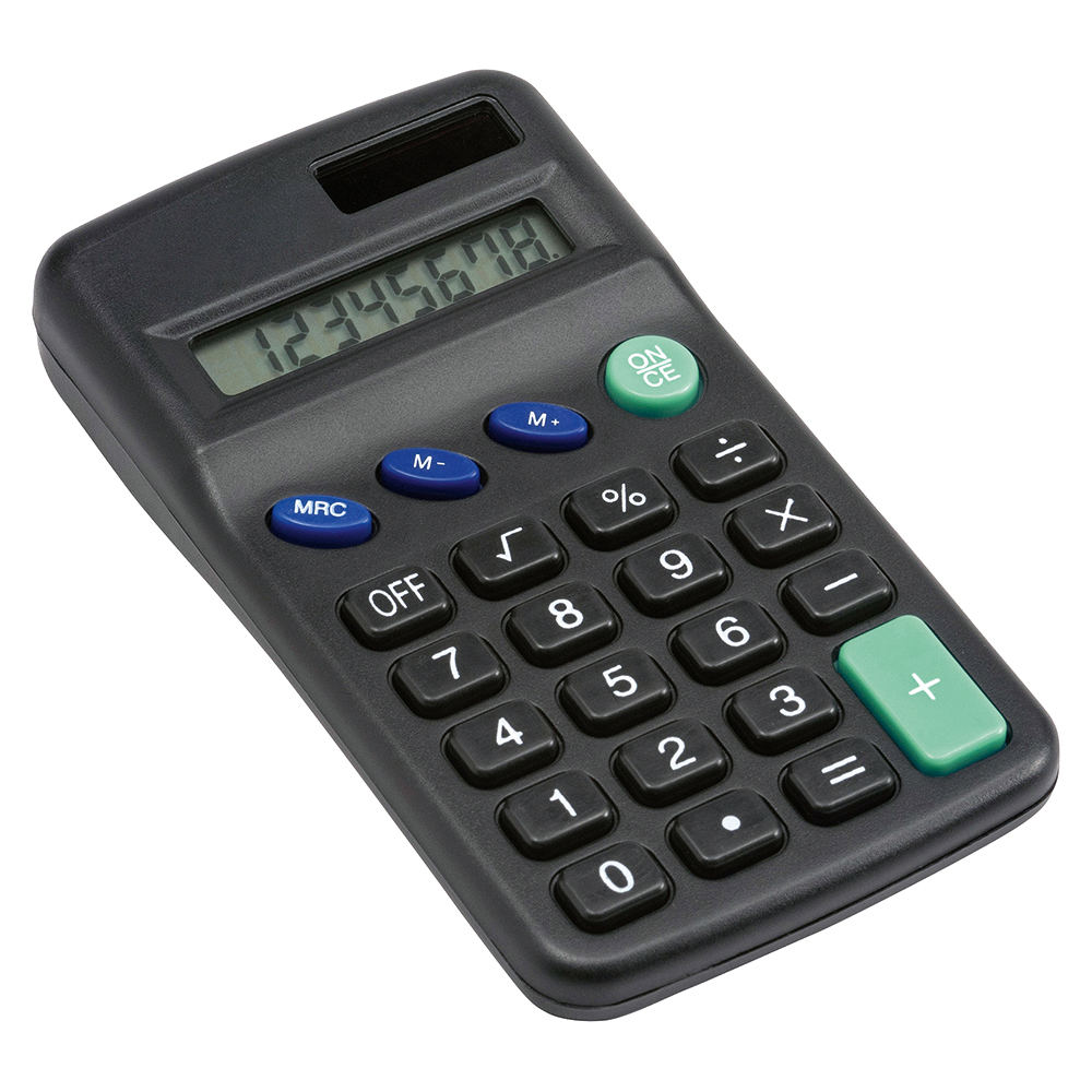 Business Pocket Calculator 8 Key Display Dual-powered by Solar and Battery