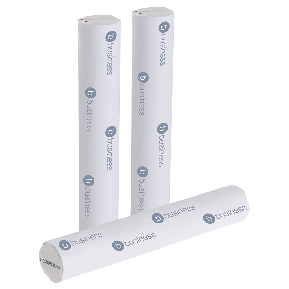 Business Fax Roll Thermal with 1m Warning Strip W210mmxL15mx12.7mm Core [Pack 6]