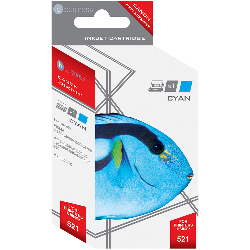 Business Remanufactured Inkjet Cartridge Page Life 470pp Cyan [Canon CLI-521C Alternative]