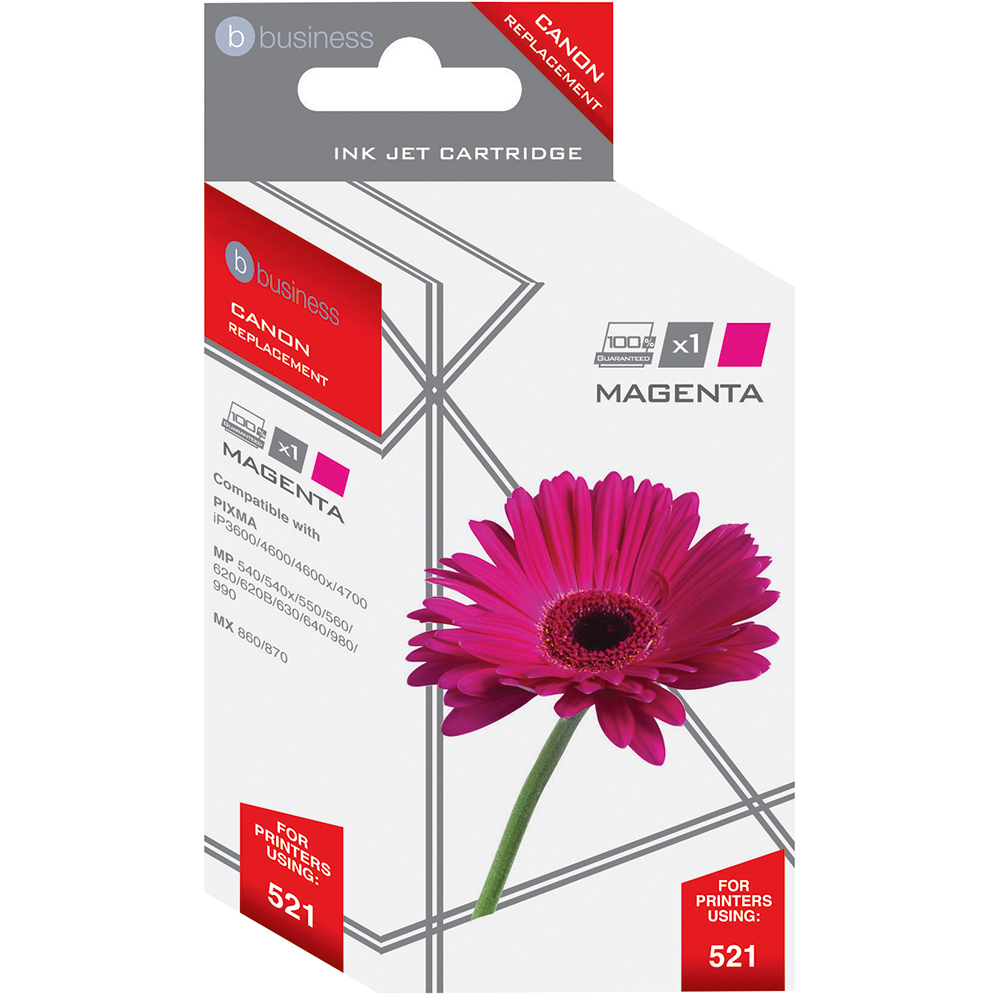 Business Remanufactured Inkjet Cartridge Page Life 470pp Magenta [Canon CLI-521M Alternative]