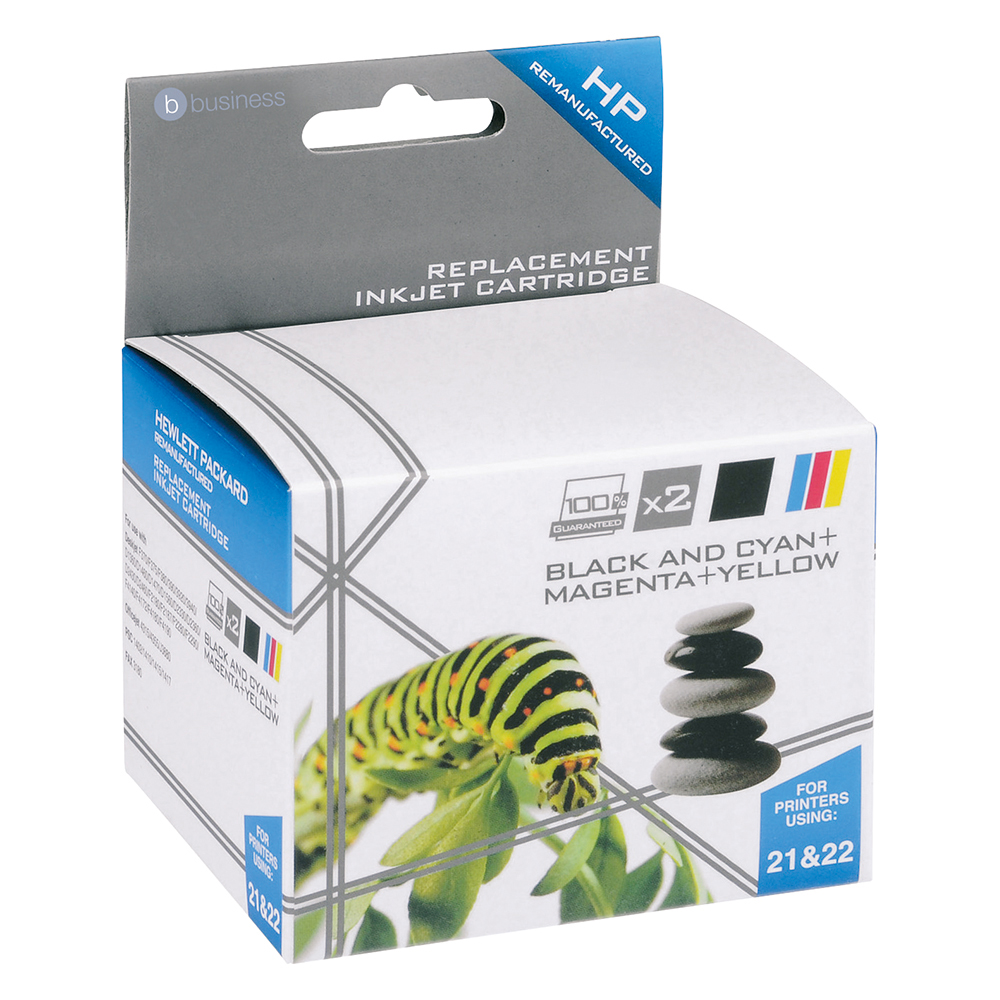 Business Remanufactured Inkjet Cartridge 250pp Black/Colour [HP No. 21 22 SD367AE] [Pack 2]