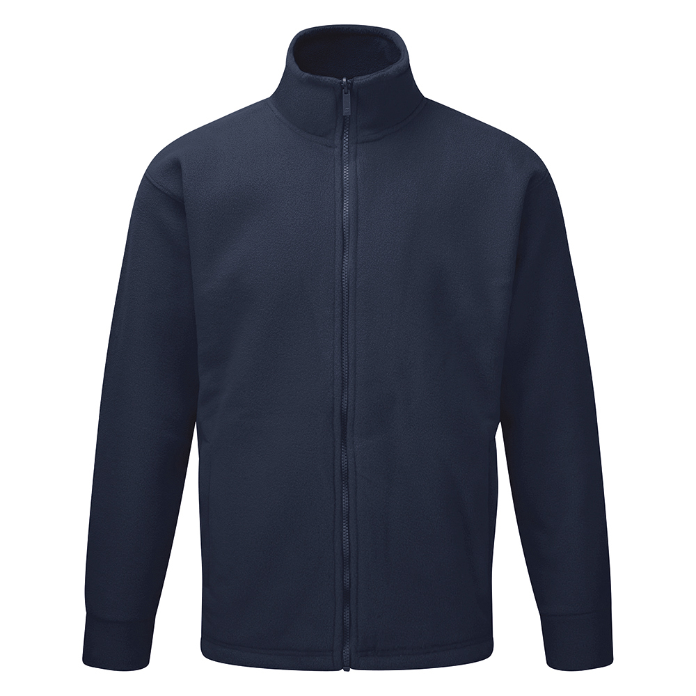 Classic Fleece Jacket Elasticated Cuffs Full Zip Front 5XL Navy Ref FLJN4XL *Approx 3 Day Leadtime*