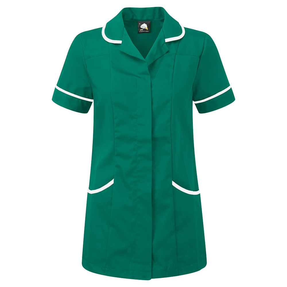 Business Ladies Tunic with Concealed Zip Polycotton Size 14 Bottle Green/White (Pack of 1)