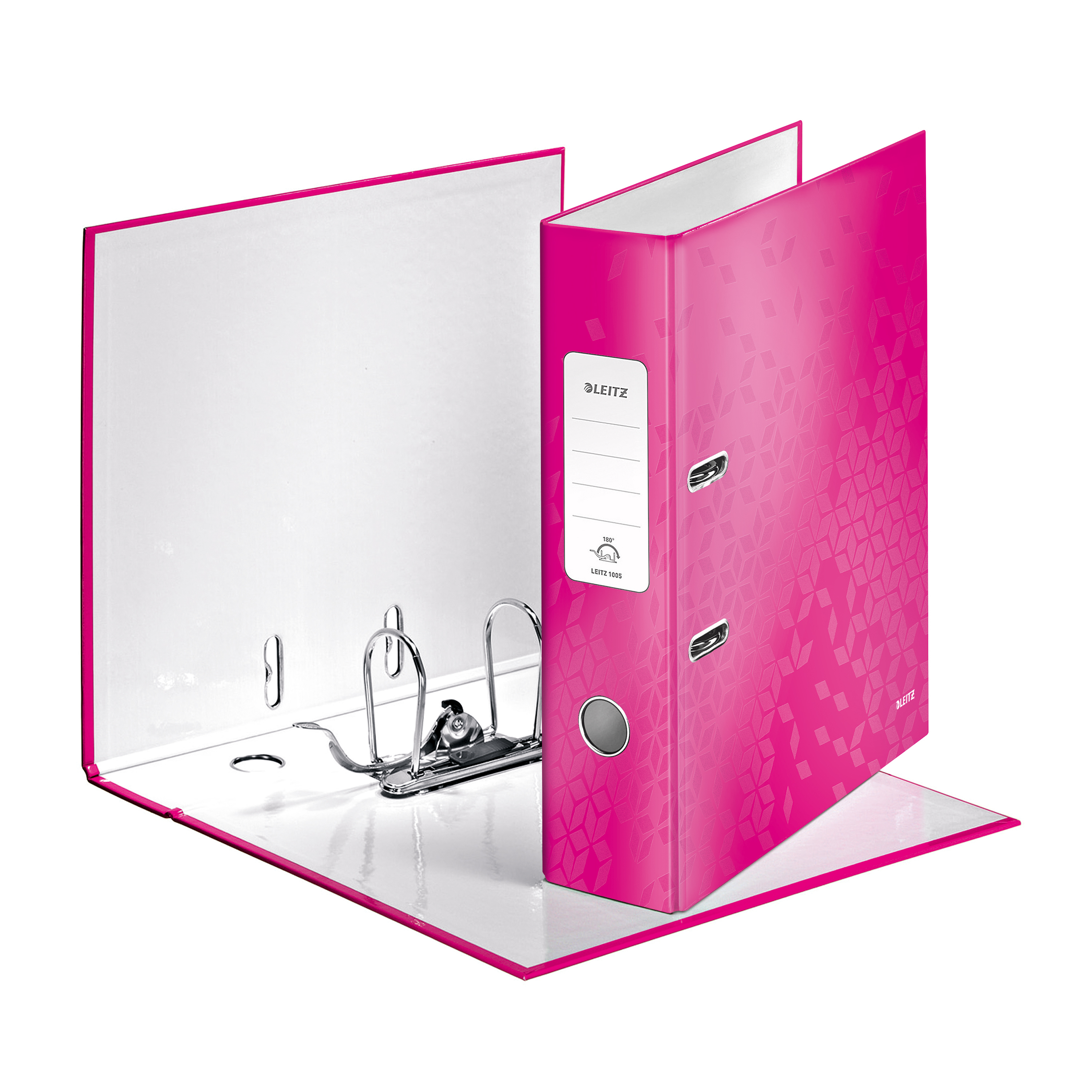 Leitz WOW Lever Arch File 80mm Spine for 600 Sheets A4 Pink Ref 10050023 Pack 10 REDEMPTION Oct-Dec19