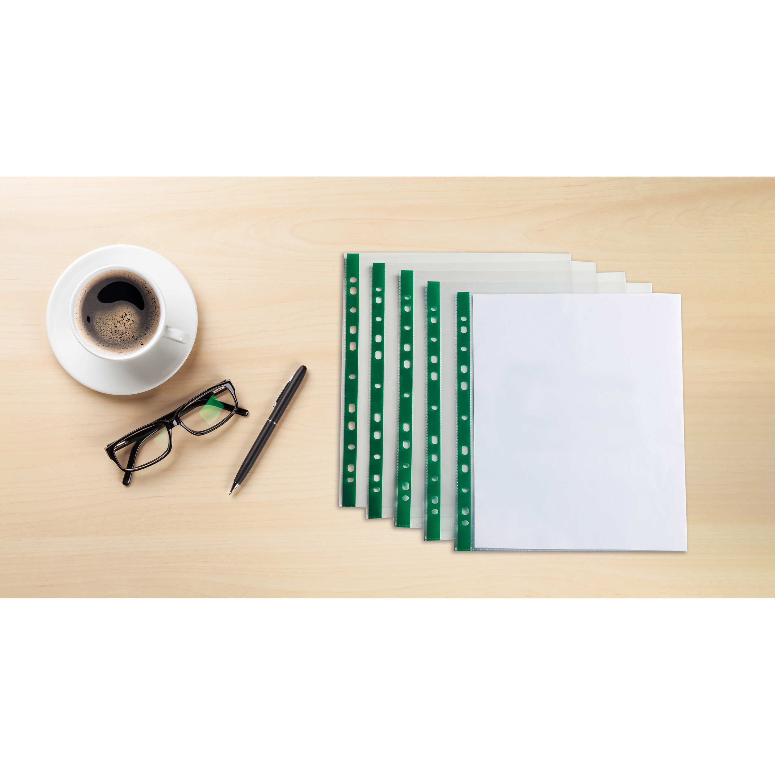 Elba Punched Pockets Glass Clear Green Strip A4 Ref 400002137_XX1220 [Pack 100] [2 for 1] Jan 12/20