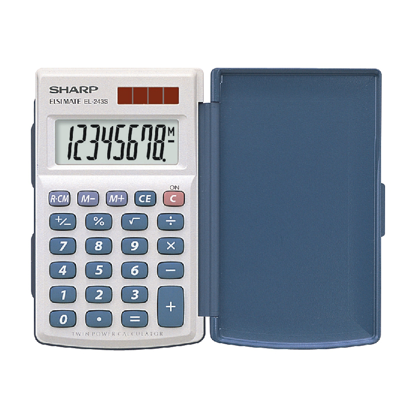 Desktop Calculator Sharp Handheld Calculator with Hard Cover 8 Digit 3 Key Memory Solar/Battery 64x11x105mm White Ref EL243S