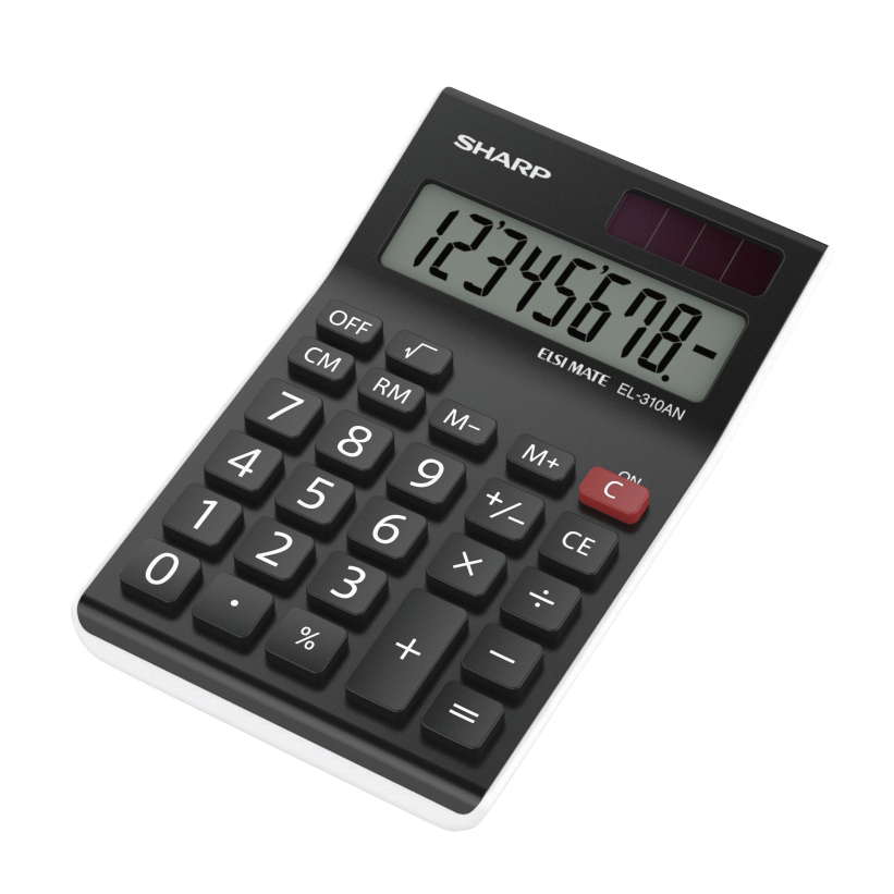 Desktop Calculator Sharp Desktop Calculator 8 Digit 4 Key Memory Battery/Solar Power 77x10x125mm Black Ref EL310ANWH