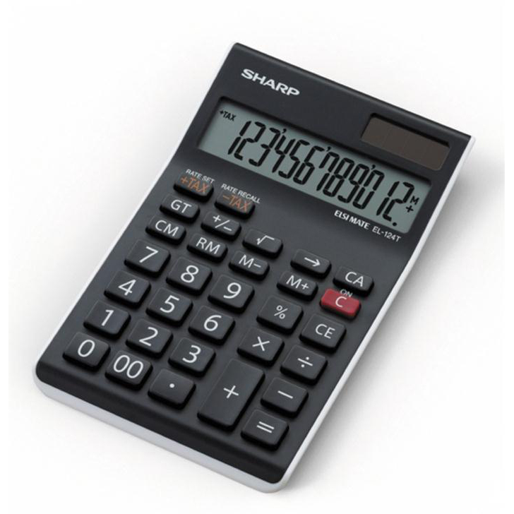 Calculators Sharp Desktop Calculator 12 Digit 4 Key Memory Battery/Solar Power 96x12x152mm Black Ref EL124TWH