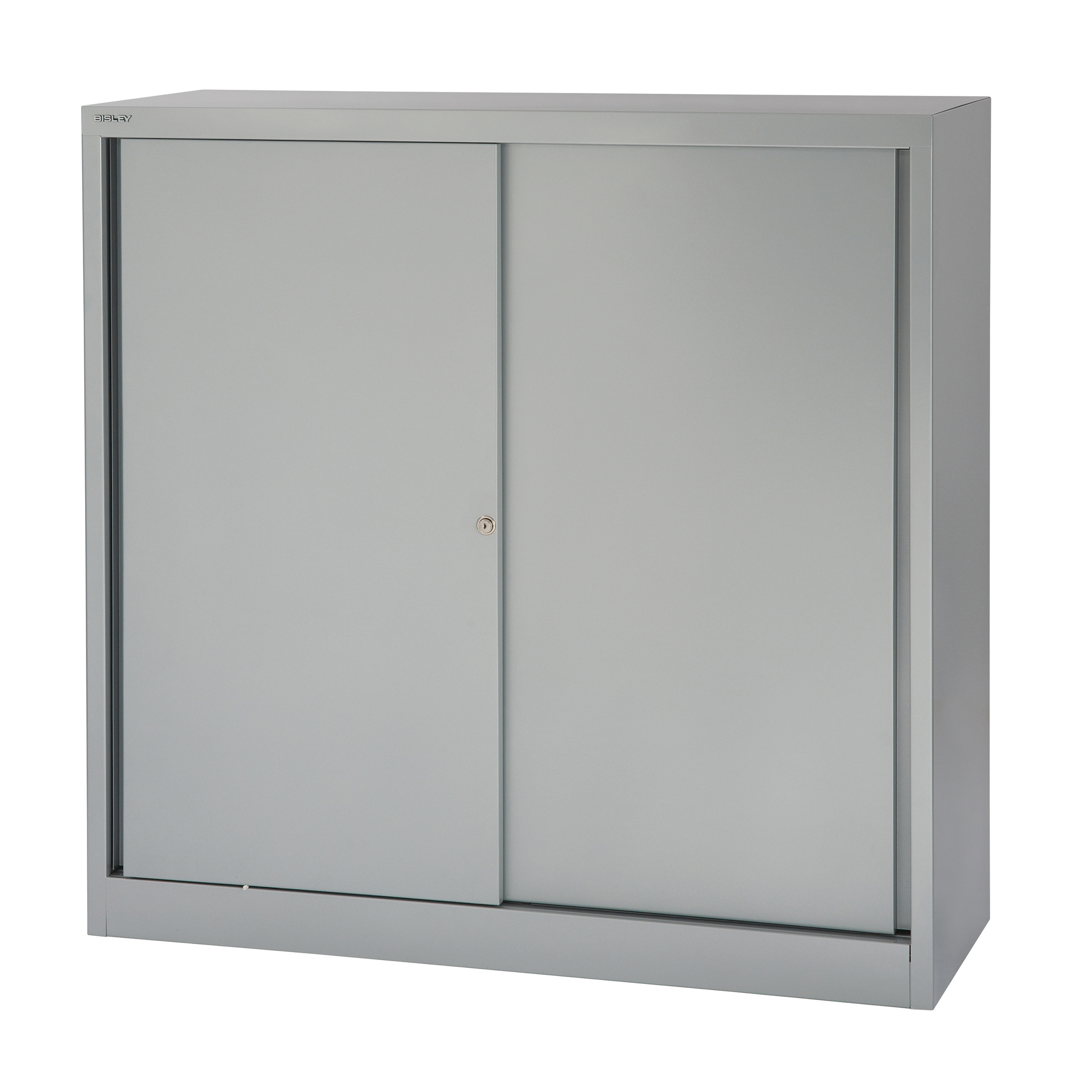 Bisley Sliding Door Cupboard inc 2 Shelves 1200x430x1181mm Silver Ref SD412/11/2S-arn Ref SD412/11/2S-arn