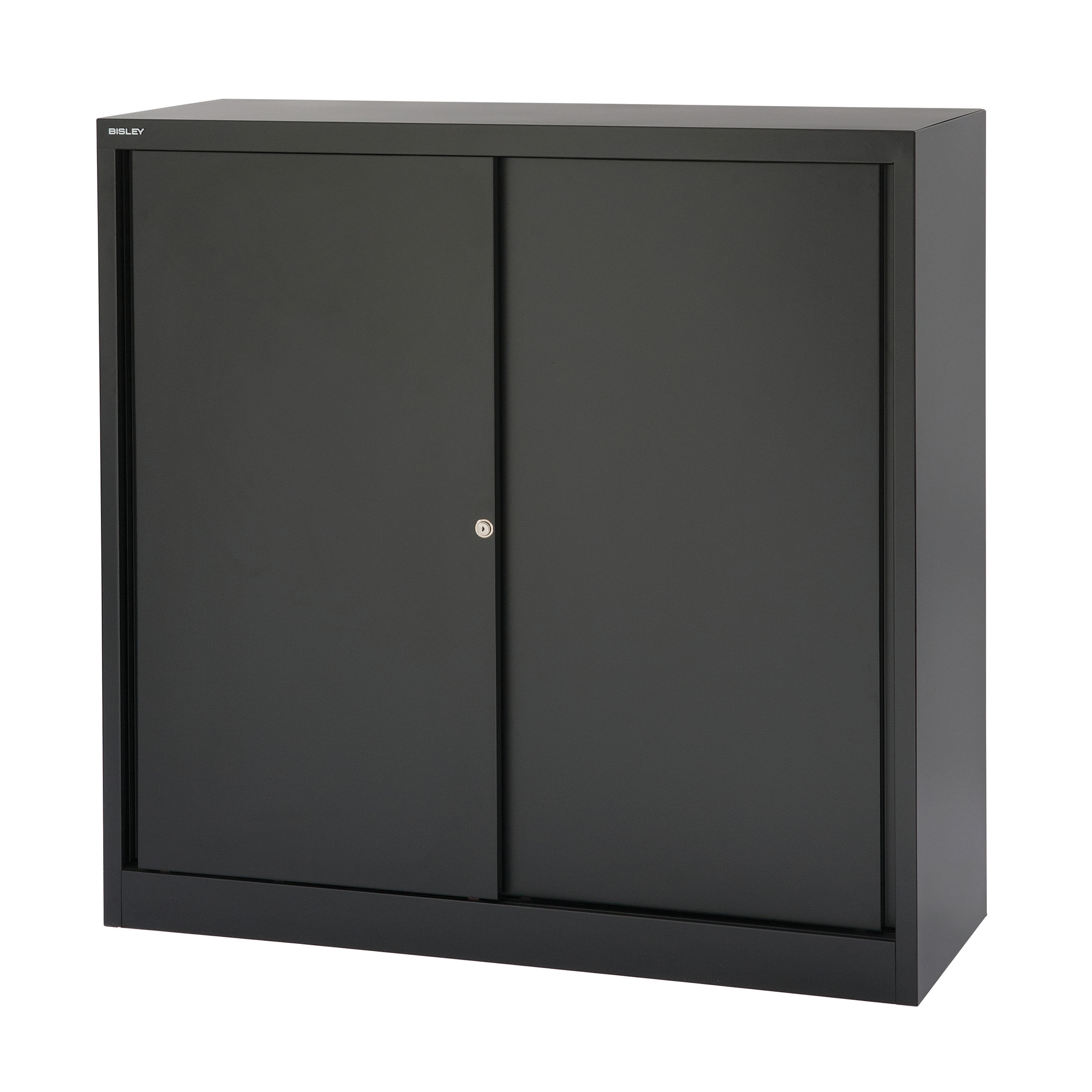 Bisley Sliding Door Cupboard inc 2 Shelves 1200x430x1181mm Black Ref SD412/11/2S-av1 Ref SD412/11/2S-av1