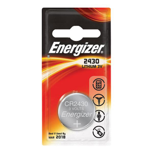 Energizer CR2430 Battery Lithium Ref 637991 Pack 2