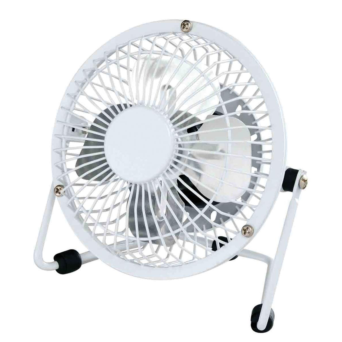 Desk Fans 5 Star Facilities Desk Fan 4 Inch with Tilt USB 2.0 Interface 180deg Adjustable H145mm w/Cable 1m White