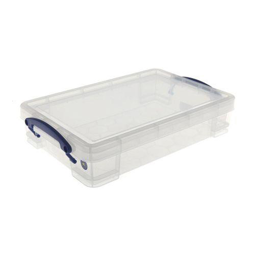 Really Useful Storage Box Plastic Lightweight Robust Stackable 4 Litre W255xD395xH88mm Clear Ref 4C
