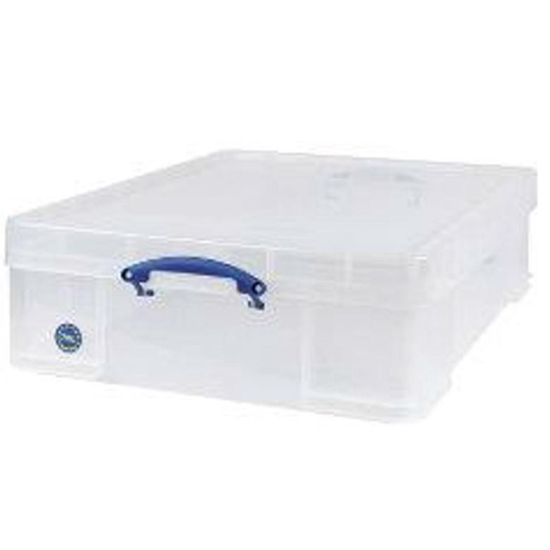 Tool Boxes Really Useful Storage Box Plastic Lightweight Robust Stackable 70 Litre W620xD810xH225mm Clear Ref 70C