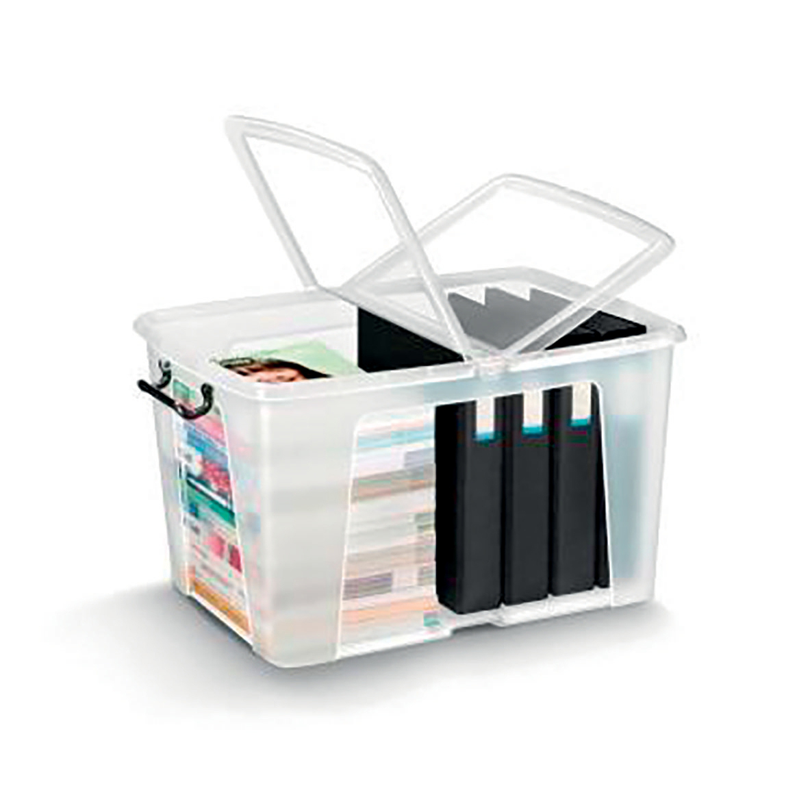 Tool Boxes Strata Smart Box Clip-On Folding Lid Carry Handles 65 Litre Clear Ref HW686