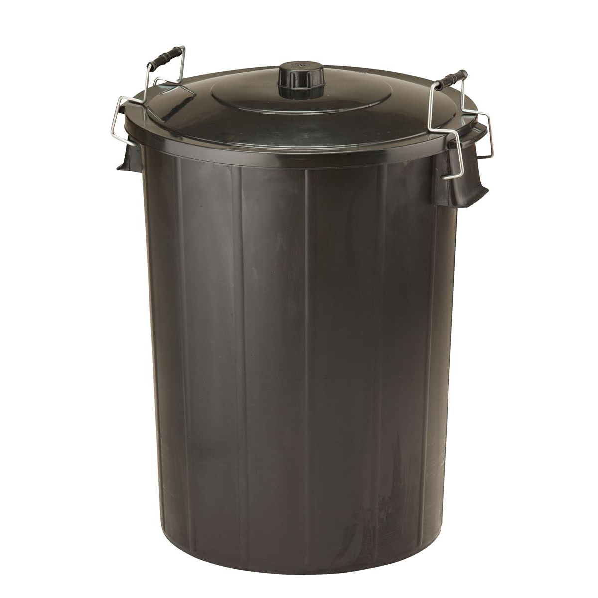 Storage Boxes Refuse Bin With Lid and Metal Clip Handles 80 Litre Black Ref GN346