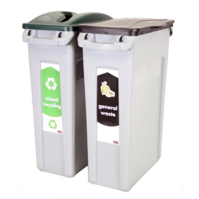 Recycling Bins Rubbermaid Slim Jim Bin Starter Pack Includes x2 Recycling Bins 87 Litres Each Green/Black Ref 1876489