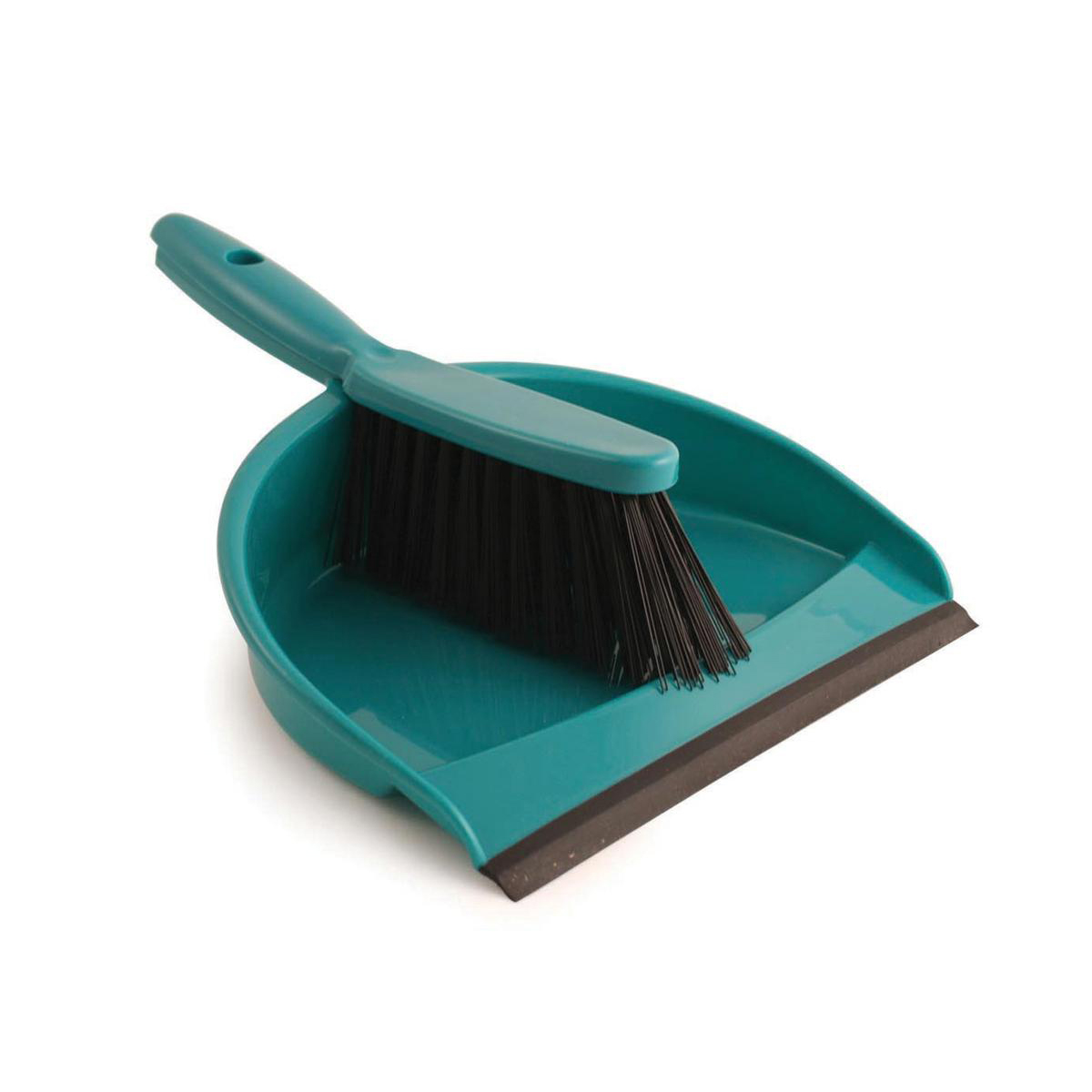 Dustpan and Brush Set Soft Bristles Green SET