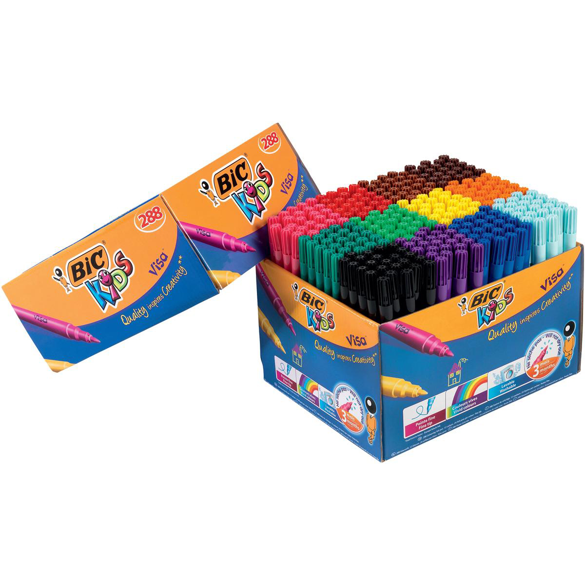 Colouring Pens Bic Kids Visa Felt Tip Pens Washable Fine Tip Class Pack Assorted Ref 897099 [Pack 288]