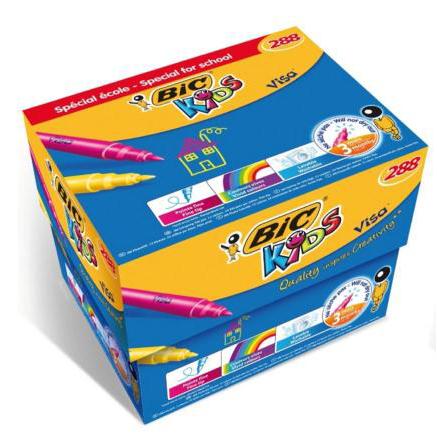 Bic Kids Visa Felt Tip Pens Washable Fine Tip Class Pack Assorted Ref 897099 [Pack 288]