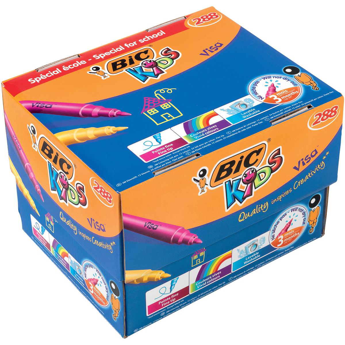 Bic Kids Visa Felt Tip Pens Washable Fine Tip Class Pack Assorted Ref 897099 Pack 288