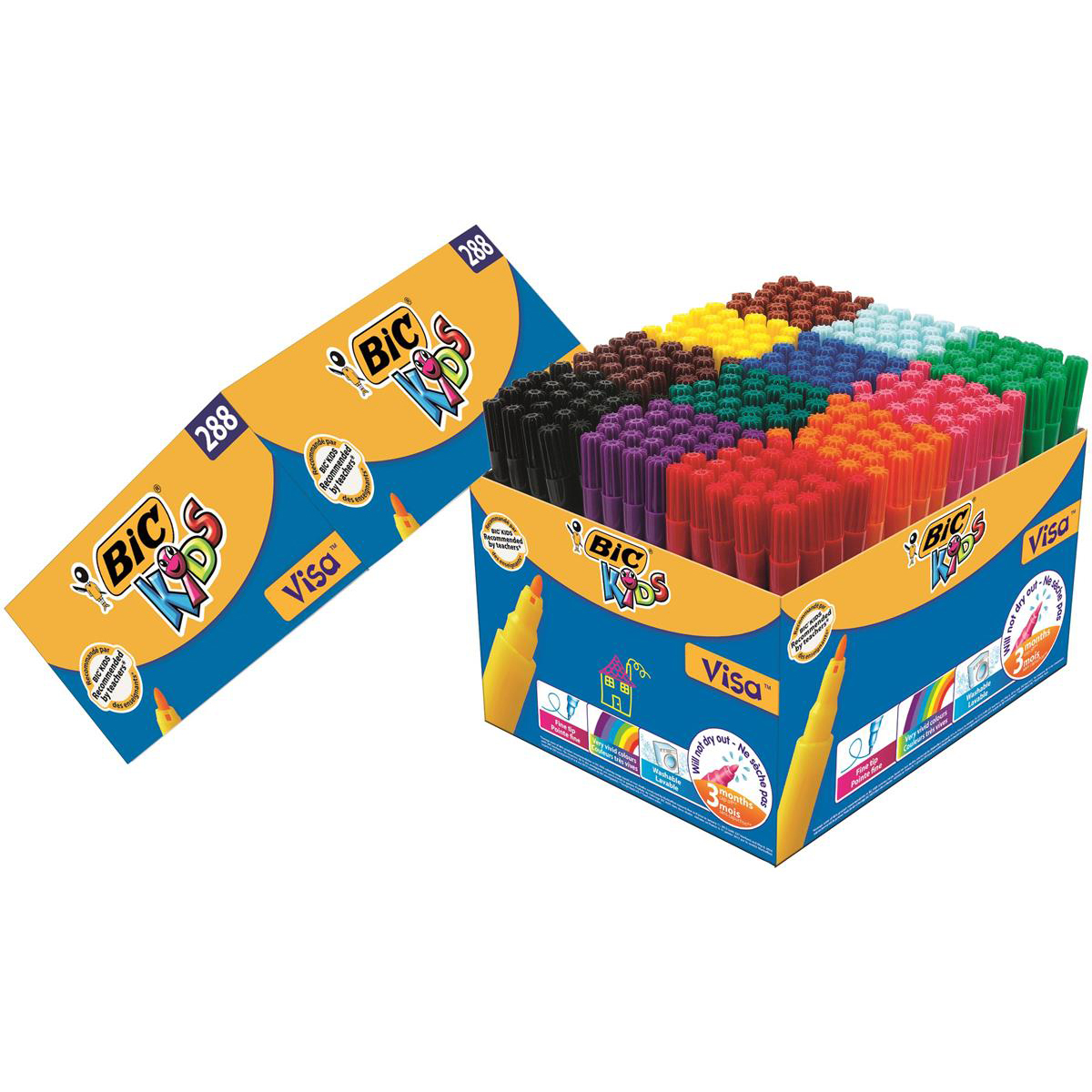 Bic Kids Visa Felt Tip Pens Washable Fine Tip Class Pack Assorted Ref 897099 Pack 288