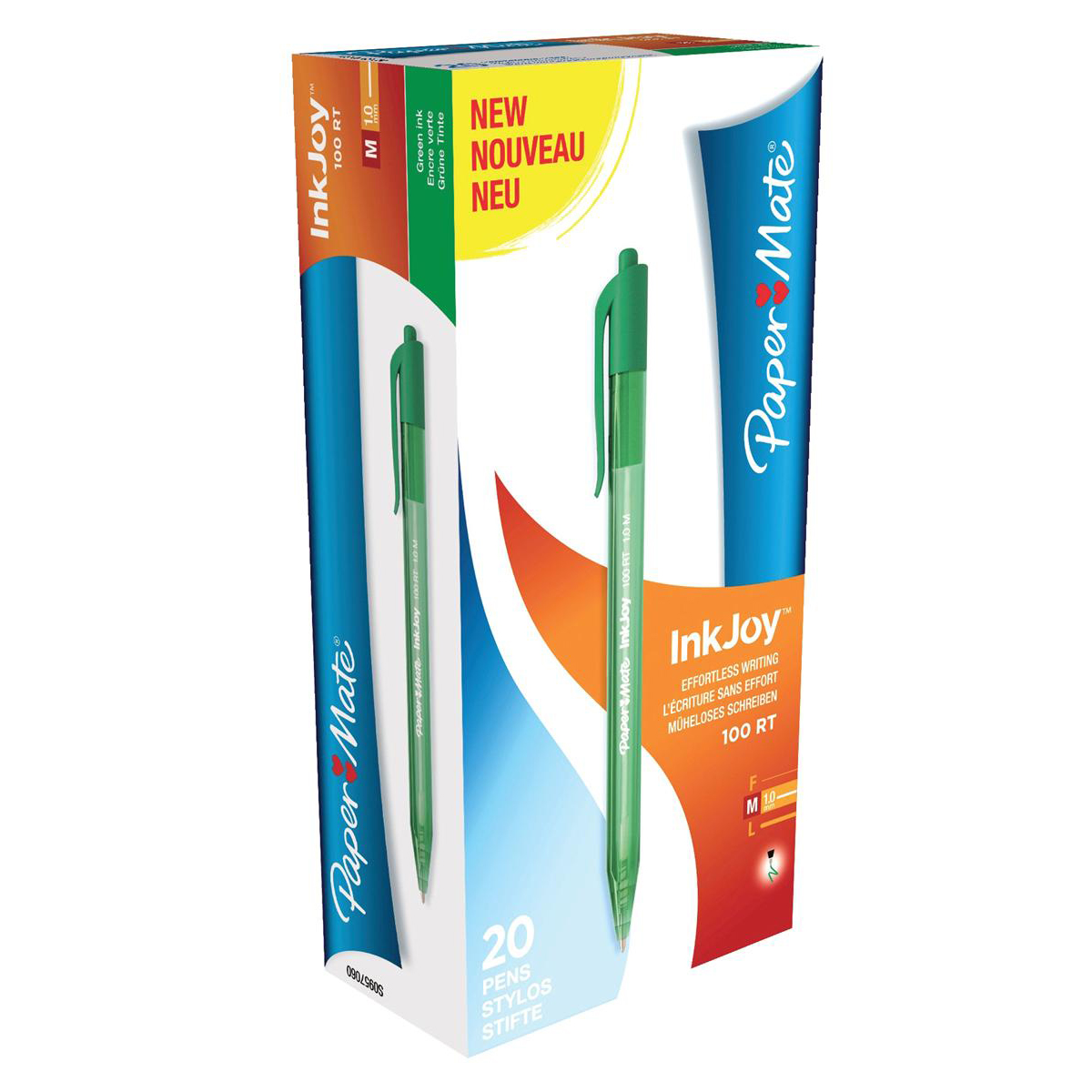Paper Mate Inkjoy 100 Retractable Ballpoint Pen Medium 1.0mm Tip 0.7mm Line Green Ref S0957060 [Pack 20]