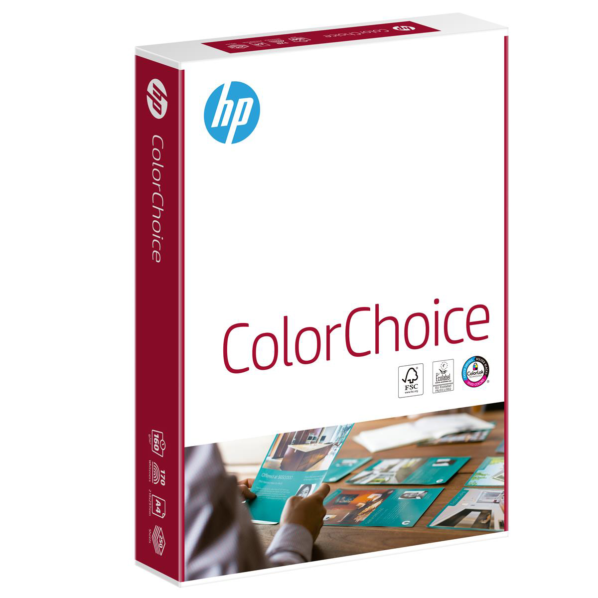 Hewlett Packard HP Color Choice Card Smooth FSC Colorlok 160gsm A4 White Ref 94298 [250 Sheets]