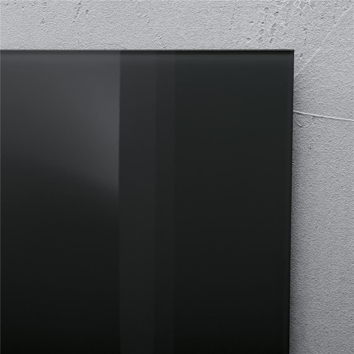 Sigel Artverum High Quality Tempered Glass Magnetic Board With Fixings 910x460mm Black GL145