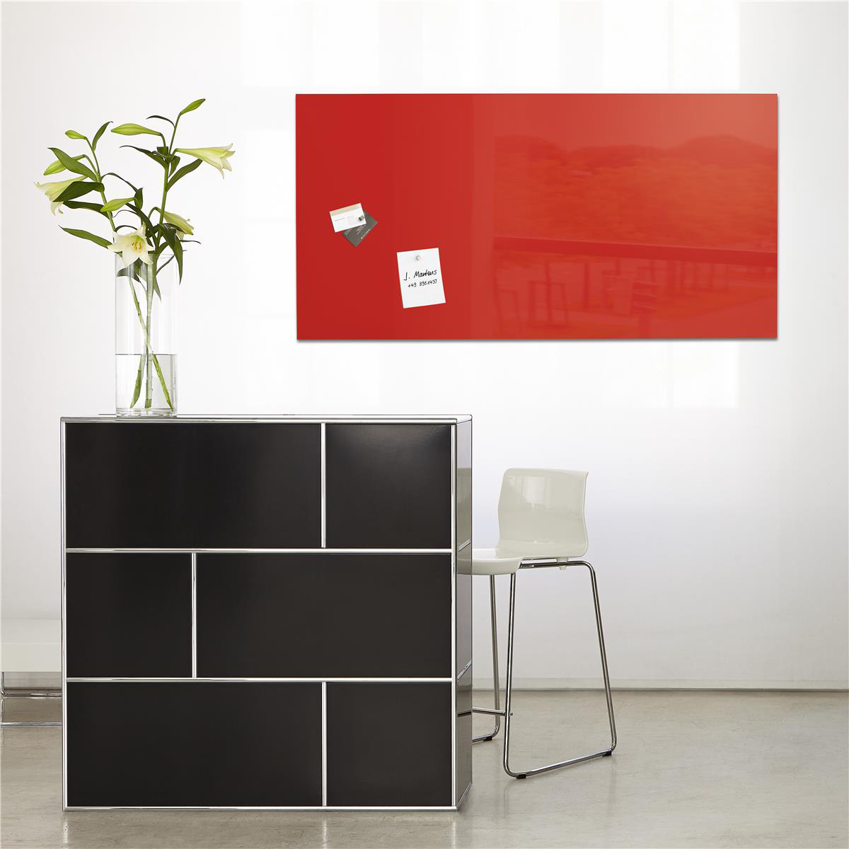 Sigel Artverum High Quality Tempered Glass Magnetic Board With Fixings 910x460mm Red GL147