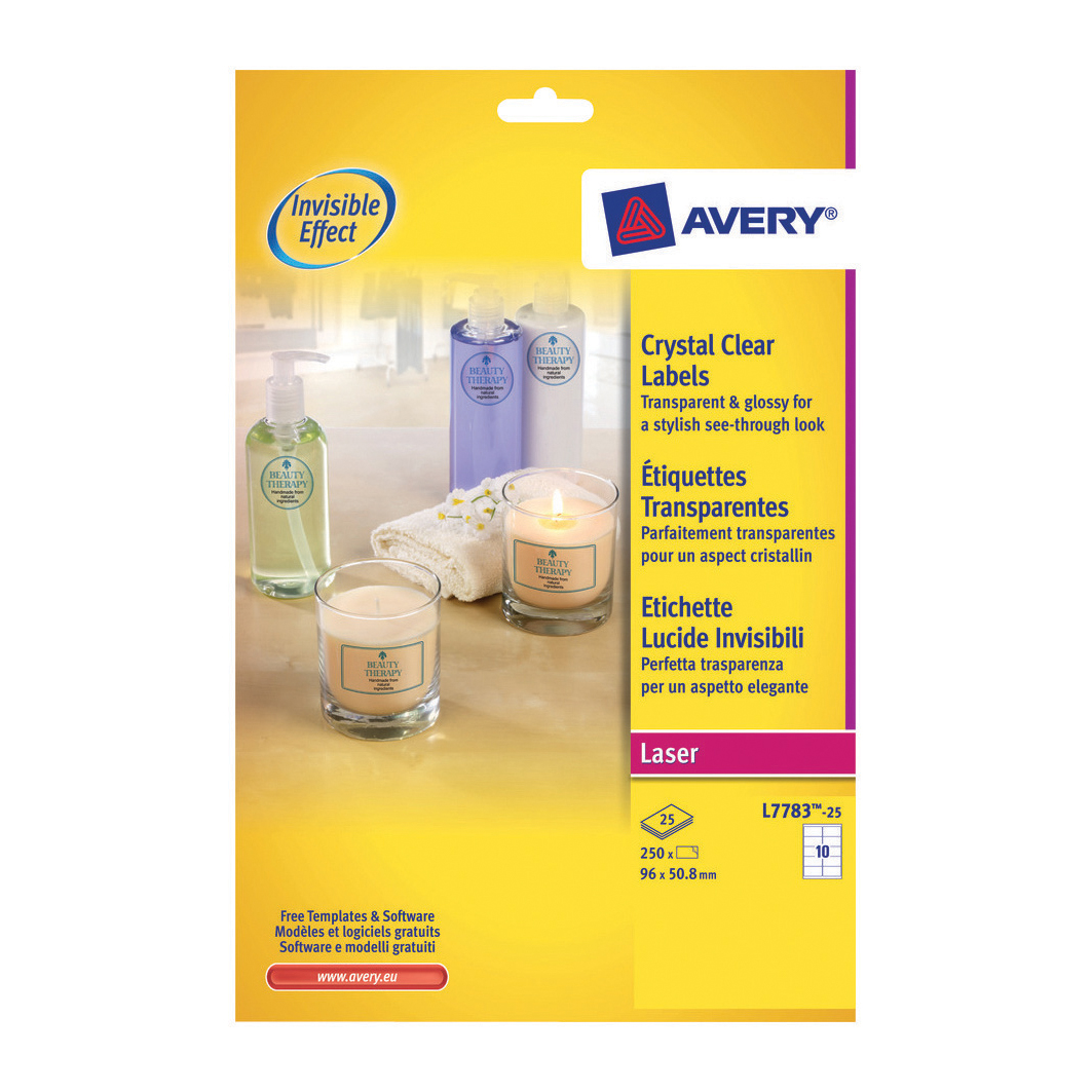Filing / Media / Retail Avery Crystal Clear Label 10 Per Sheet 96x50.8mm Ref L7783-25 [250 Labels]