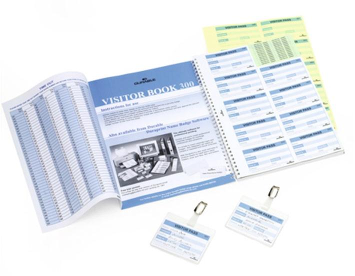 Image for Durable Visitors Book Refill of 300 W90xH60mm 80gsm Badge Inserts Ref 1466/00.
