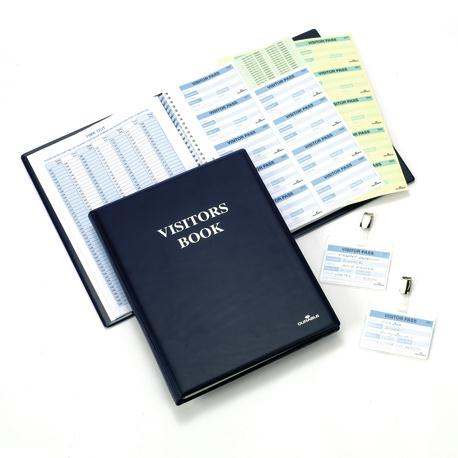 Image for Durable Visitors Book Leather Look 300 Badge Inserts 80gsm W90xH60mm Ref 1465-00