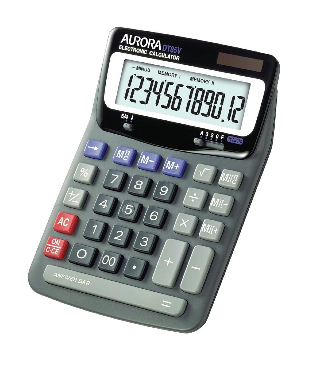 Image for Aurora Calculator Desktop Battery/Solar-power 12 Digit 2x3 Key Memory 140x198x46mm Ref DT85V