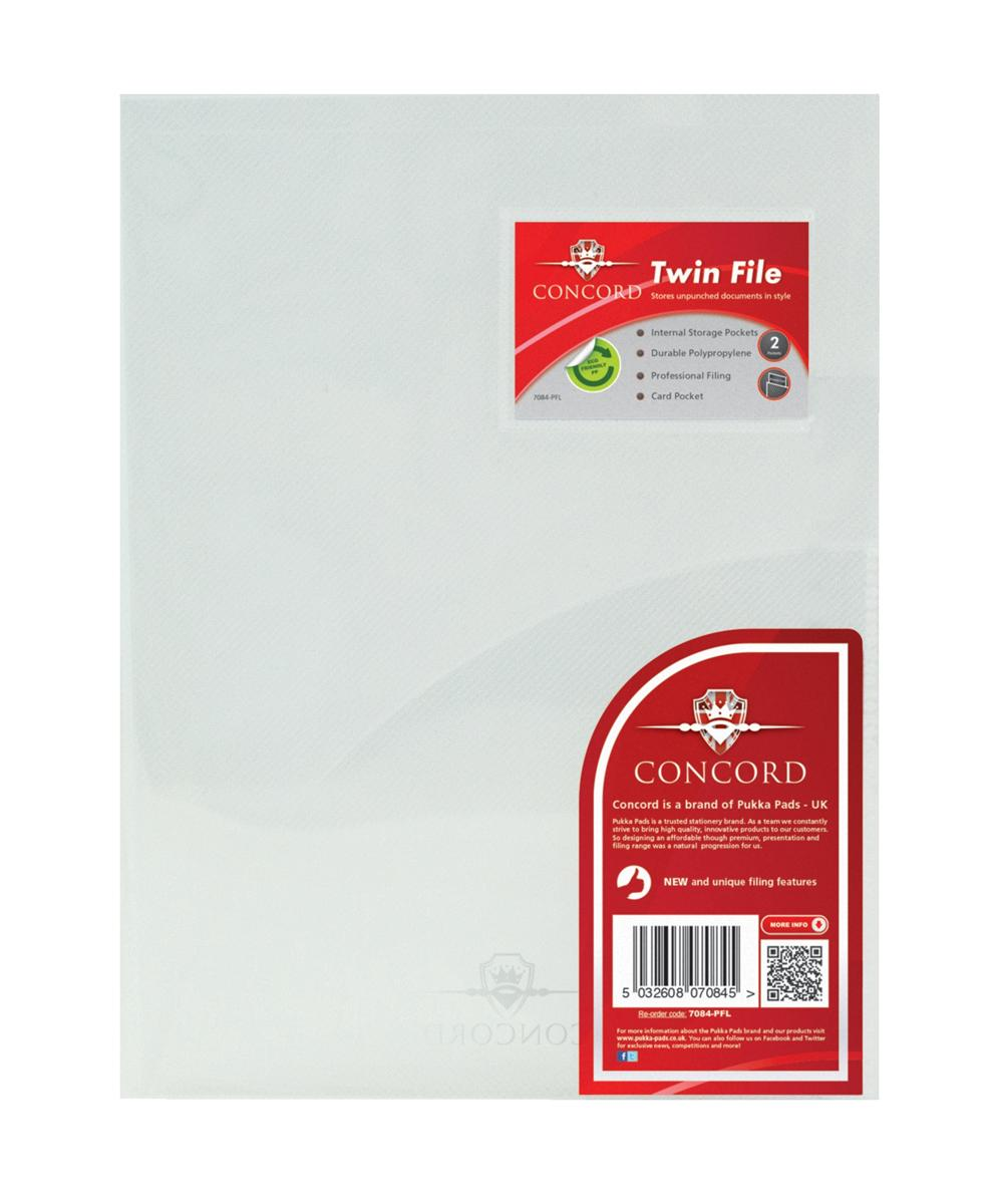 Image for Concord Twinfile Presentation Folder Polypropylene A4 Clear Ref 7084-PFL [Pack 5]