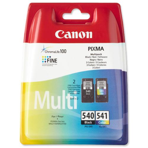 Canon PG-540/CL-541 Inkjet Cartridge Page Life 180pp 8ml Black/Tri-Colour Ref 5225B006 [Pack 2]