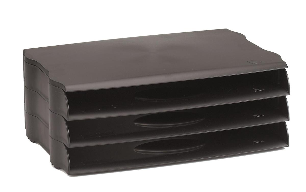 Image for Avery DTR Letter Tray Wide Entry Stackable Black Ref DR800BLK [Pack 3]