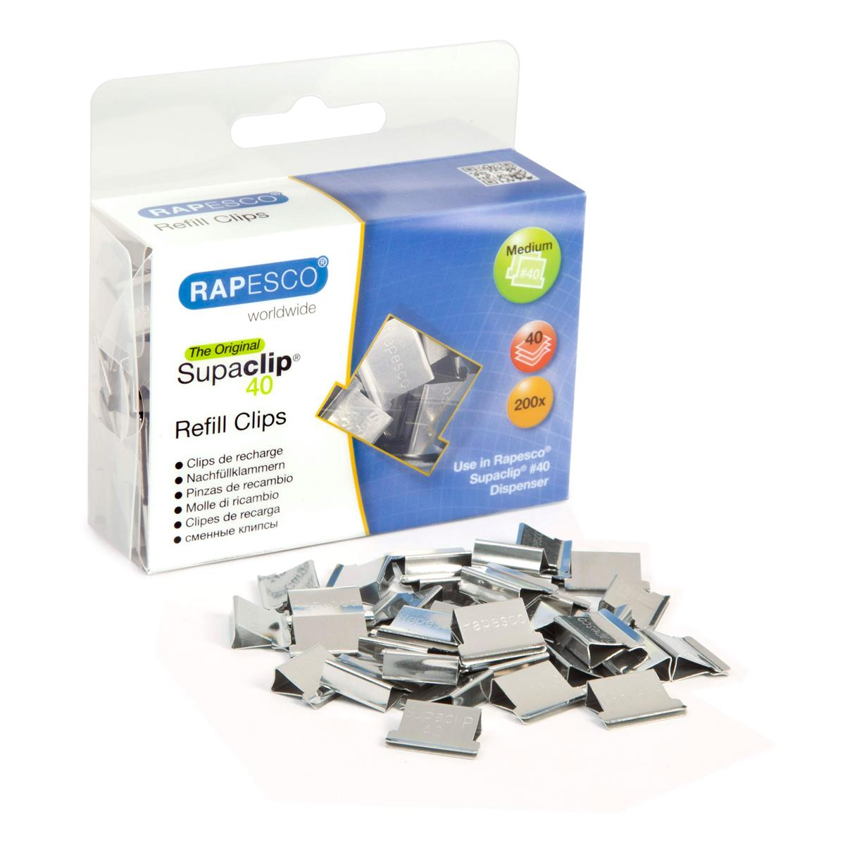 Image for Rapesco Supaclip 40 Refill Clips for 40 Sheets of 80gsm Stainless Steel Ref CP20040S [Pack 200]