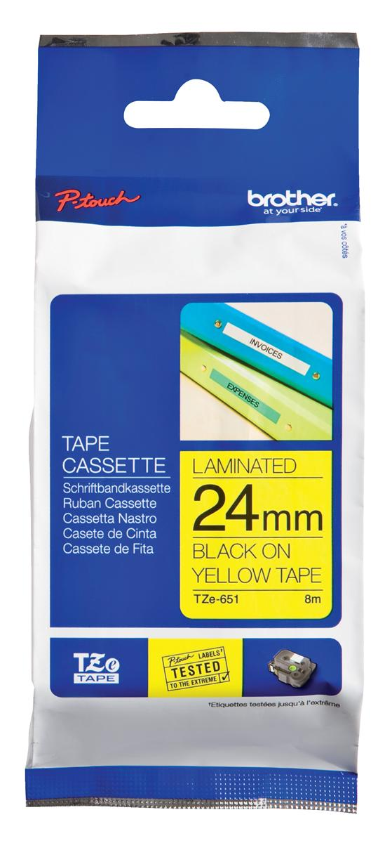 Image for Brother P-touch TZE Label Tape 24mmx8m Black on Yellow Ref TZE651