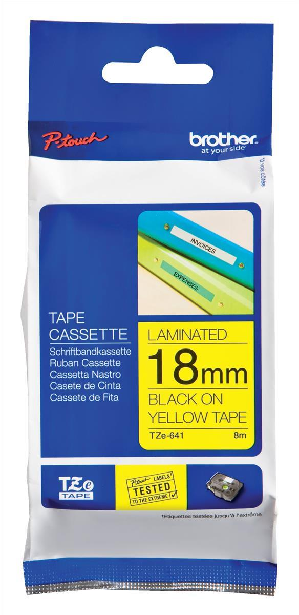 Image for Brother P-touch TZE Label Tape 18mmx8m Black on Yellow Ref TZE641
