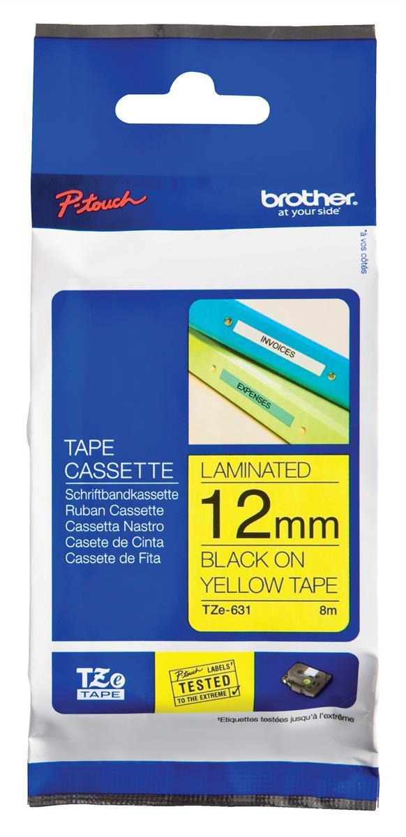 Image for Brother P-touch TZE Label Tape 12mmx8m Black on Yellow Ref TZE631