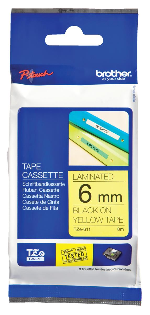 Image for Brother P-touch TZE Label Tape 6mmx8m Black on Yellow Ref TZE611