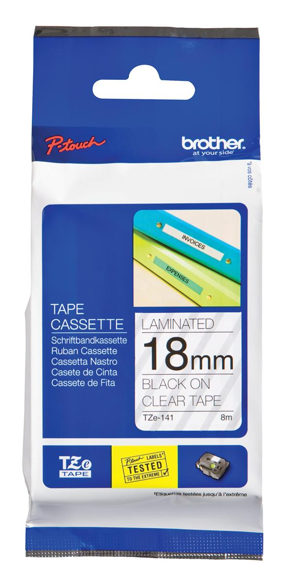 Image for Brother P-touch TZE Label Tape 18mmx8m Black on Clear Ref TZE141