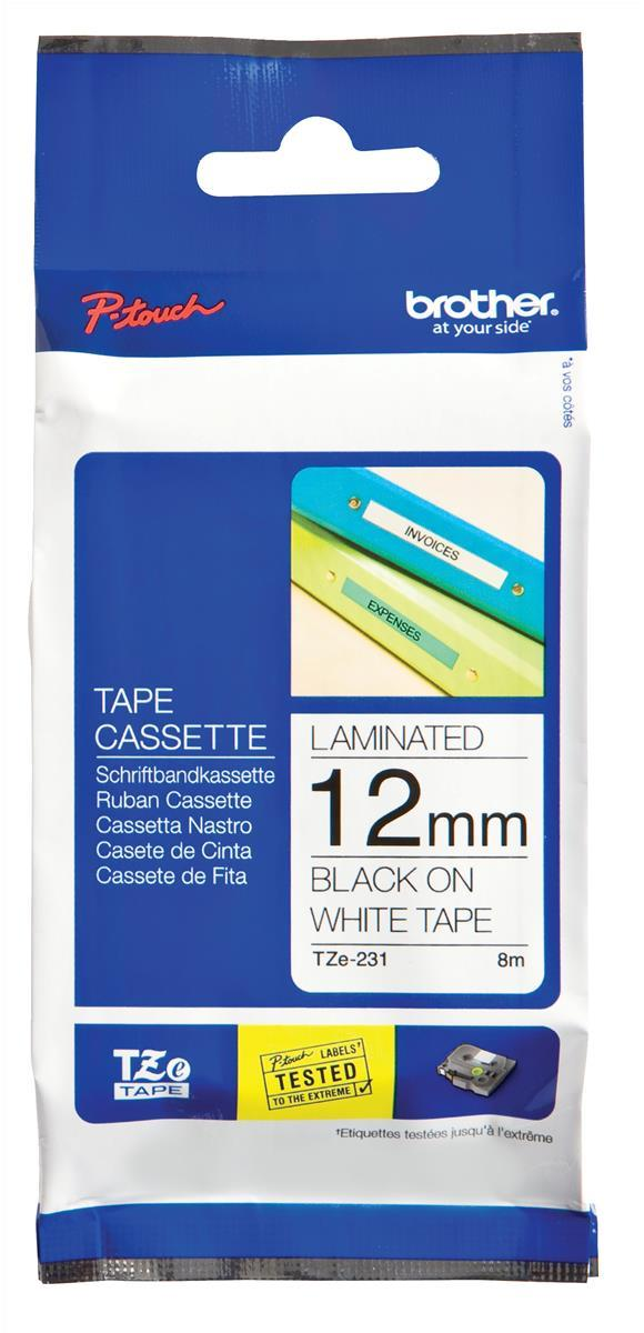 Image for Brother P-touch TZE Label Tape 12mmx8m Black on White Ref TZE231
