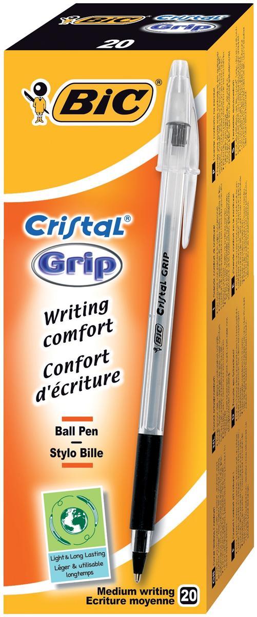 Bic Cristal Grip Ball Pen Clear Barrel 1.0mm Tip 0.4mm Line Black Ref 802800 [Pack 20]